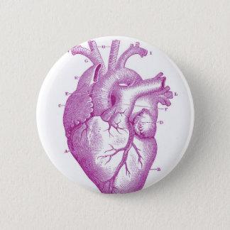 Purple Vintage Heart Anatomy 6 Cm Round Badge