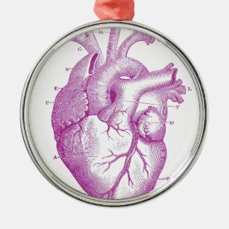 Purple Vintage Heart Anatomy Metal Ornament