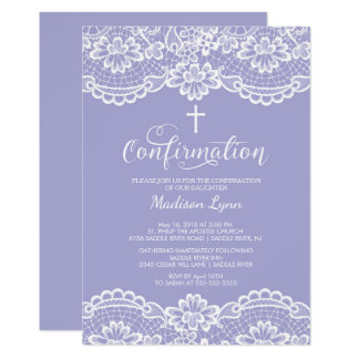 Purple Vintage Lace Confirmation Invitation