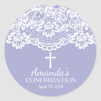 Purple Vintage Lace Confirmation Sticker