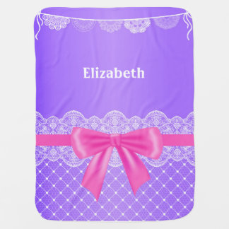 Purple Vintage Lace with ribbon Baby Blanket