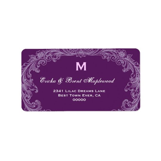 Purple Vintage Monogram B455 Address Label
