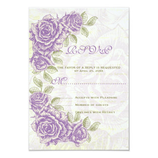 Purple vintage roses wedding RSVP reply card 9 Cm X 13 Cm Invitation Card