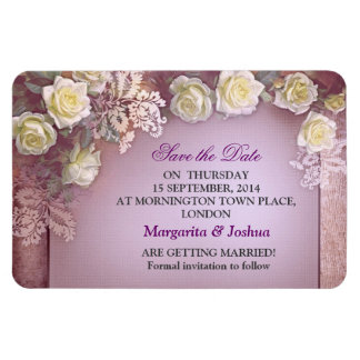 purple vintage save the date white roses magnets
