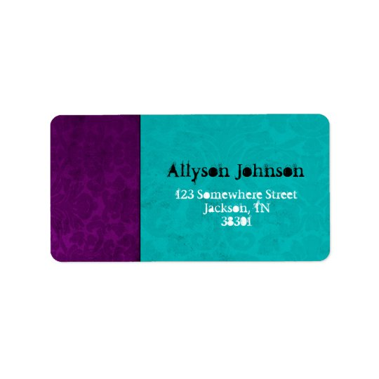 Purple Vintage & Turquoise Address Labels