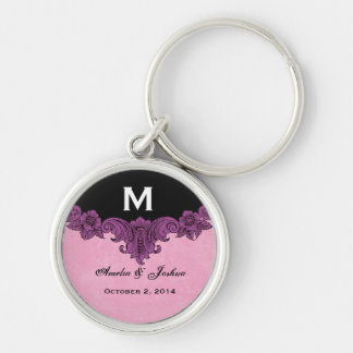 Purple Vintage Wedding Custom Monogram Celebration Silver-Colored Round Key Ring