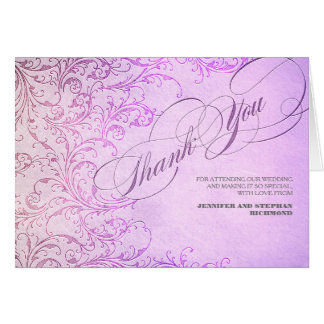 PURPLE VINTAGE WEDDING THANK YOU CARDS
