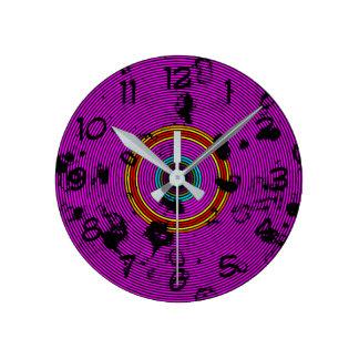 Purple Vinyl Disc Texture Pattern Round Clock
