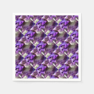 Purple, Violet and Mauve Iris Abstract Disposable Napkin