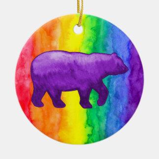 Purple Violet Bear on Rainbow Wash Circle Ornament