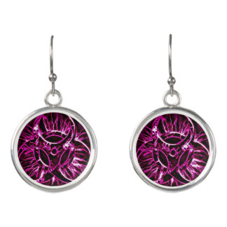 Purple, violet biohazard toxic warning sign symbol earrings