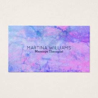Purple violet blue stone marble look business card