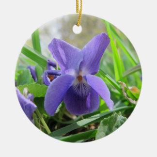 Purple Violet Ceramic Ornament