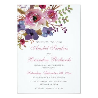 Purple Violet Floral Elegant Wedding Invitation