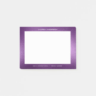 Purple Violet Glas Mail Name Web Telephone Number Post-it Notes