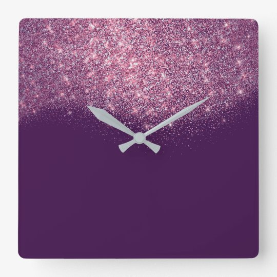 Purple Violet Glitter Confetti Pink Rose Glam Square Wall Clock