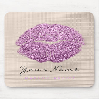 Purple Violet Ivory Glitter Name Makeup Lips Kiss Mouse Pad