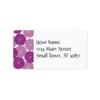 Purple Violet Lavender Flower Blossoms Floral Address Label