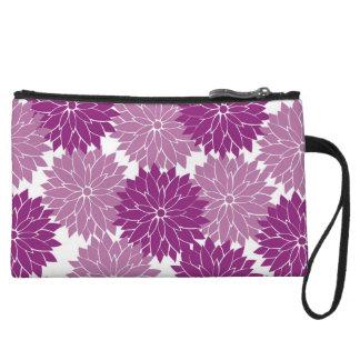 Purple Violet Lavender Flower Blossoms Floral Wristlet Purses