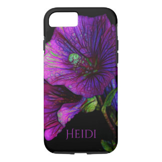 Purple Violet Petunia Floral Monogram iphone Case