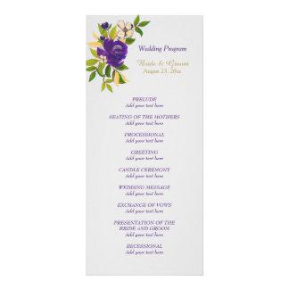 Purple Violet Watercolor Floral Wedding Program Personalised Rack Card
