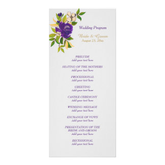 Purple Violet Watercolor Floral Wedding Program Rack Card