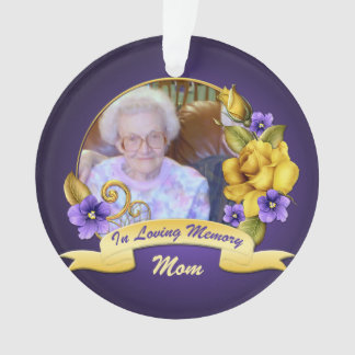 Purple Violets Yellow Roses Memorial Keepsake Ornament
