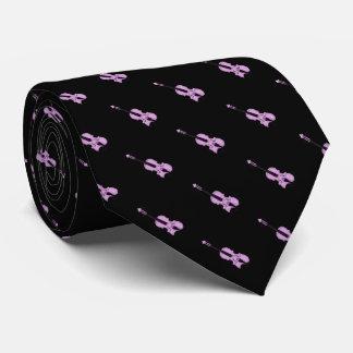 Purple Violin Pattern Tie