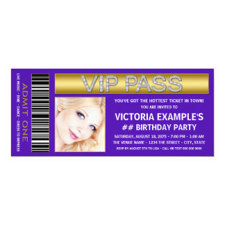 Purple VIP Pass Admission Ticket Birthday Party Custom Invite