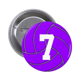 Purple Volleyball Jersey Number or Initials Pin