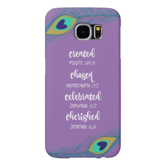 Purple w/Peacock Feathers Affirmation Scripture
