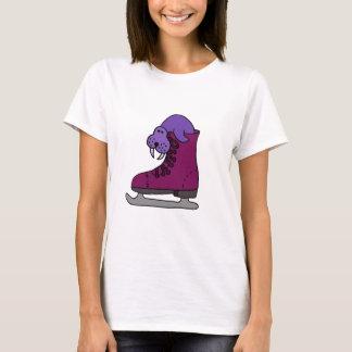 Purple Walrus in Ice Skate T-Shirt