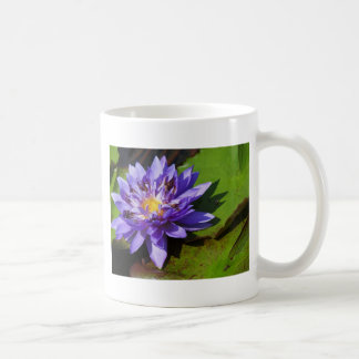 Purple water lilies floating in a pond coffee mugs