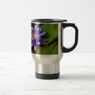 Purple water lilies floating in a pond mug