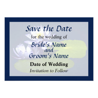 Purple Water Lilies in Sunshine Save the Date Custom Invites