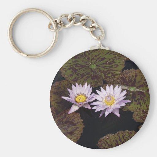 Purple Water Lilies Keychain