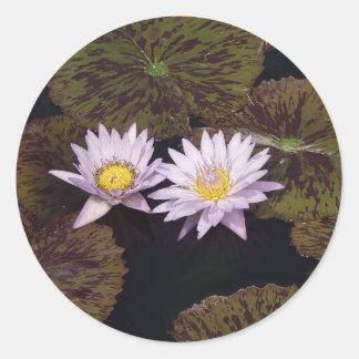 Purple Water Lilies Round Sticker