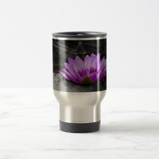 Purple Water Lily 002 Black and White Background Mugs