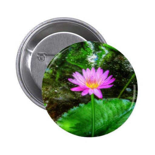 Purple Water Lily Pinback Button