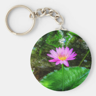 Purple Water Lily Basic Round Button Key Ring