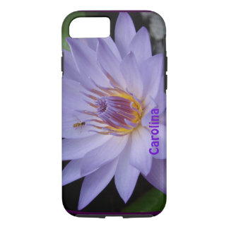 Purple Water Lily & Bee Custom Name iPhone 7 case