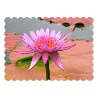 Purple Water Lily Blossom Flowers Whimsical Custom 13 Cm X 18 Cm Invitation Card