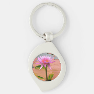 Purple Water Lily Blossom Flowers Whimsical Custom Silver-Colored Swirl Key Ring