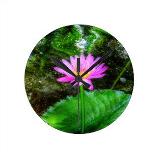 Purple Water Lily Round Clocks