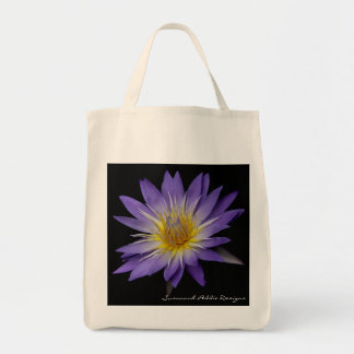 Purple Water Lily Grocery Tote