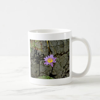 PURPLE WATER LILY IN THE MIDDLE OF A POND COFFEE MUG
