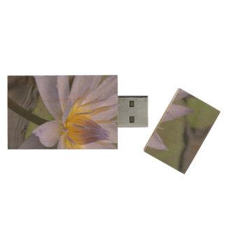 Purple Water Lily Wood USB 2.0 Flash Drive