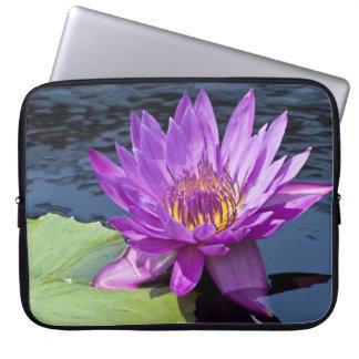 Purple Water Lily Neoprene Laptop Sleeve