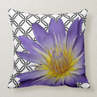 Purple Water Lily on Black and White Throw Pillow