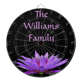 Purple water lily on black background dart boards